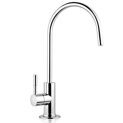 """iSpring GA1-AW 6.5""""x11"""" 14oz Solid Brass Heavy Duty Water Filter Designer Faucet - EU Style High-Spout"""