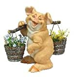 Cheap C&F Garden Decor Outdoor Polyresin Pig Planter Statue With Carrying Pole G196 14″H