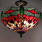 Tiffany Style Dragonfly Ceiling Lamp by Warehouse of Tiffany 305C+SF104