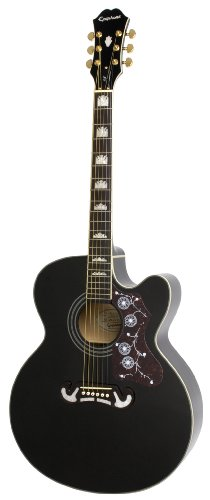 Epiphone EJ-200SCE Solid Top Cutaway Acoustic / Electric Guitar, Black