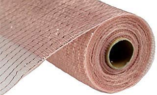10 inch x 30 feet Deco Poly Mesh Ribbon (New Rose Gold with Foil) (Wreath Rose Gold)