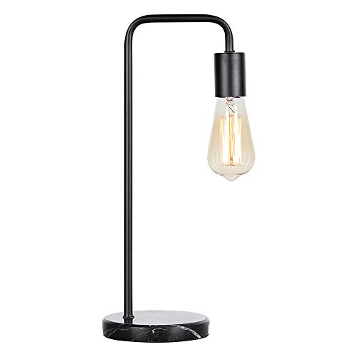 HAITRAL Industrial Desk Lamps - Classic Modern Black Bedside Table Lamp with Marble Base and Metal Frame, Task Lamp for Office, Den, Dorm, Bedroom, Kids Room (Bulb Not Included) ()