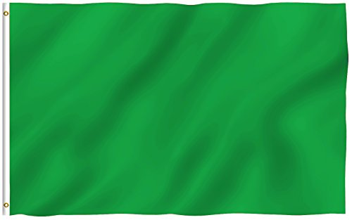 Anley  Fly Breeze  3X5 Foot Solid Green Flag   Vivid Color And Uv Fade Resistant   Canvas Header And Double Stitched   Plain Green Flags Polyester With Brass Grommets 3 X 5 Ft