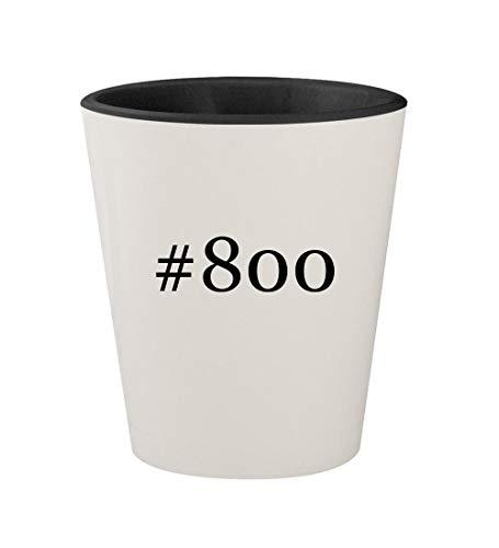 #800 - Ceramic Hashtag White Outer & Black Inner 1.5oz Shot Glass