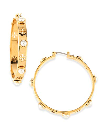 Tory Burch Women's T-Pierced Logo & Pearl Hoop Earrings (Gold Tone)
