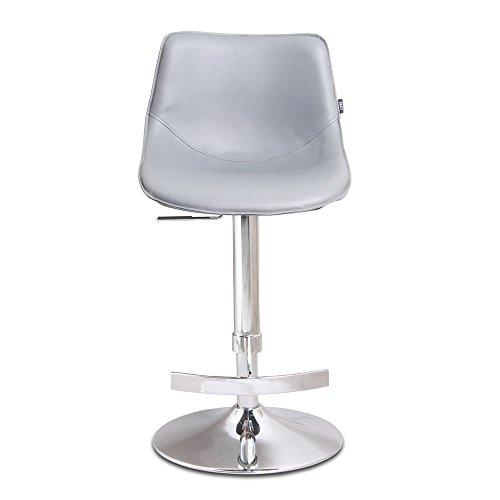 Cheap Zuri Furniture Modern Adjustable Leatherette Domino Bar Stool with Chrome Base- Slate