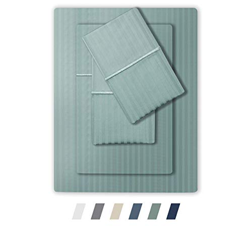 Feather & Stitch 500 Thread Count 100% Cotton Stripe Sheets + 2 Pillowcases, Soft Sateen Weave, Deep Pocket, Hotel Collection, Luxury Bedding Set (Granite Green, California King) (Fieldcrest Luxury Sheet Set)