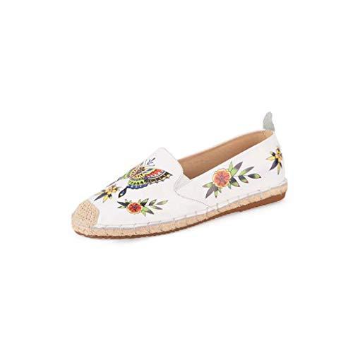 Redonda Boca Y Zapatos Impresos White Pescador Paja Nuevos Casuales De Cabeza Cuero Baja Hrn Primavera Zapatos Mujer Flores Verano wYxZqYXp