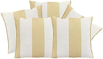 Just Linen Set of 5, Striped Design, Beige Color, 16 x 16 Inchs Regular Size Cushion Covers
