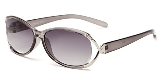 Readers.com Fully Magnified Reading Sunglasses: The Claire, Oval Women's Sunglass Reader with Metal and Rhinestone Accents - Grey/Silver with Smoke, 2.00 (Reading Sunglasses Oval)