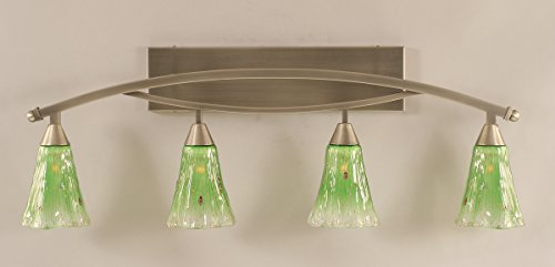 Bow 4 Light Bath Bar in Brushed Nickel-Kiwi Green Crystal Glass ()