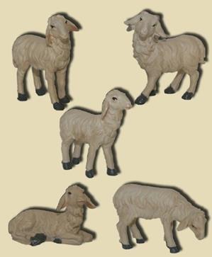 Miniatur Modell Zubehör Schafe 5tlg. Höhe 6,6cm geeignet für 15-20cm Figuren Zisaline