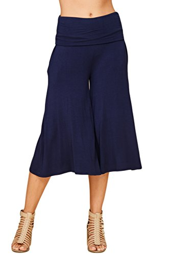 Annabelle Women's Fold Over Waist Wide Leg Culotte Gaucho Capri Pants Large Navy ()