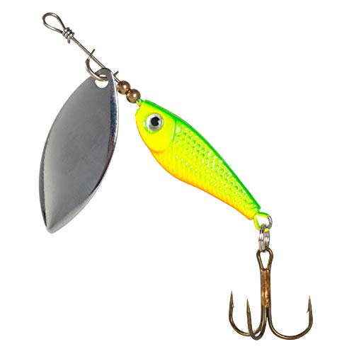 PLUSINNO Fishing Lure Spinnerbait,Minnow Poper Baits Bass Trout Spinner Lures Hard Metal Spoon Lures Crankbait Assorted Fishing Hooks (1 Minnow Spinner-Green)