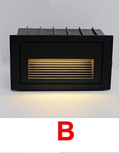 Aplique Pared Baño Led Step Light Ip65 Aluminio Empotrado Escalera Lámpara De Esquina Interior Al Aire Libre Empotrado Escalera De Pared Lámpara Pie Cuerpo negro AC85-265V Tipo B 3W: Amazon.es: Iluminación