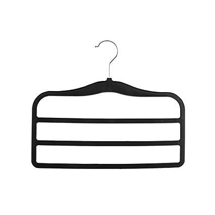 eDealMax terciopelo antideslizante Mantón Escudo de toallas de ropa Pantalones Titular de Rack Negro