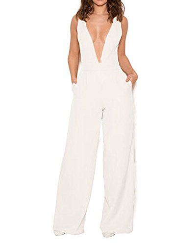 UONBOX Women's Sleeveless Elegant Deep V and Wide Leg Ladder Back Jumpsuit (XL, White) ()