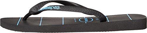 Havaianas Menns Topp Striper Logo Sandal Svart / Svart / Blå