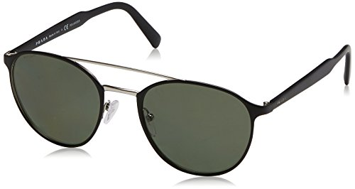 Prada  Men's 0PR 62TS Matte Black/Silver/Polarized Green - Black Matte Prada Sunglasses