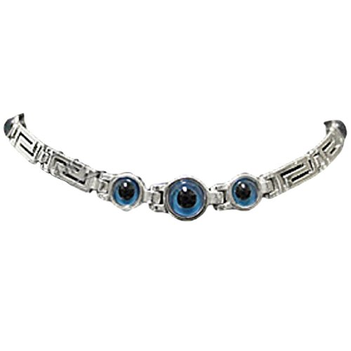 Greek Sterling Silver Mati Collection - Bracelet w/ Greek Key and 3 Central Mati Evil Eye (6mm), Made In Greece