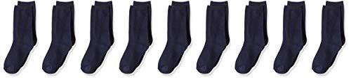 Amazon Essentials Kids' 9-Pack Light-Weight Cotton Uniform Crew Dress Sock, Navy, 9 to 2 1/2 2 Pack Navy Crew Sock