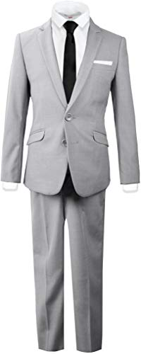 Black n Bianco Signature Boys' Slim Fit Suit Complete Outfit (12, Light Gray)