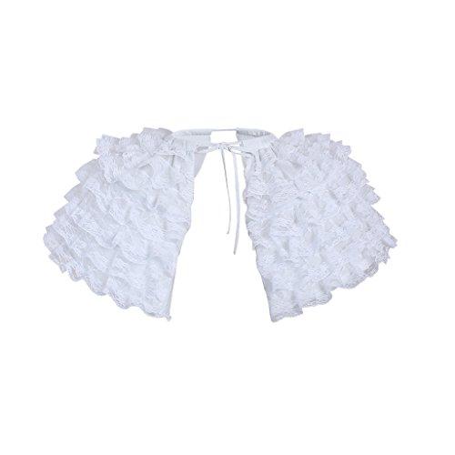 DUNHAO COS Women's White Crinoline Pannier Underskirt Victorian Dress (Lace Double Pannier) Victorian Crinoline