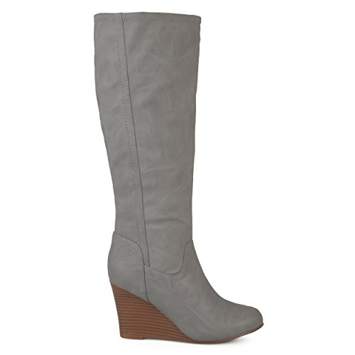 Brinley Co Womens Regular and Wide Calf Round Toe Faux Leather Mid-Calf Wedge Boots Grey