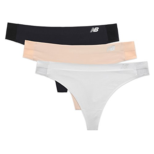 New Balance Women's Hybrid Thong 3-Pack Black/Nude/Silver Mink Small