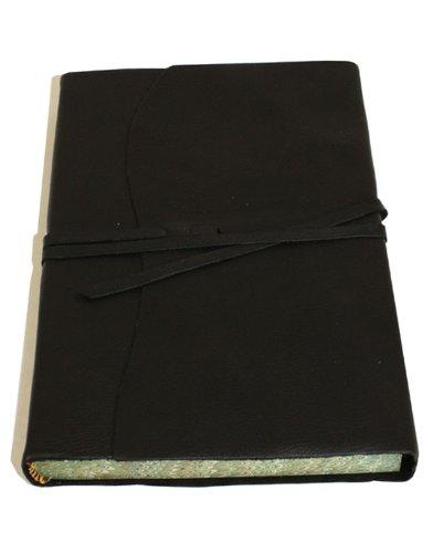 Roma Luxury Black Italian Leather Journal with Marble Edged Paper - 14 x 21 - Italian Journal Edged Leather