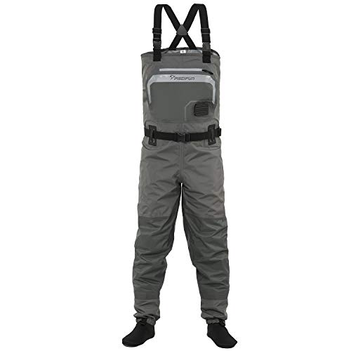 Piscifun Breathable Chest Waders – Stockingfoot Waders for Men and Women, Lightweight Fly Fishing Waders, 3-Layer Polyester Waterproof Stocking Foot Waders S M L XL XXL