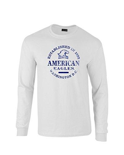 NCAA American University Eagles 100% Pre-Shrunk Long Sleeve Tee, White, SMALL
