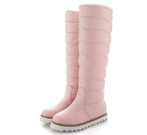 Femmes Bottes de neige Genou Bottes 3cm Cacher Talon Bout Rond Imperméable À L'eau Chaude En Peluche Couleur Pure Chaussures Décontractées Bottes En Plein Air Eu Taille 33-43 Pink FBDIiUtfHv