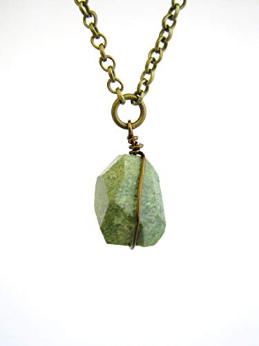 Green Opal Pendant - Long Boho African Green Opal Pendant Necklace Handmade Raw Natural Stone Jewelry for Women
