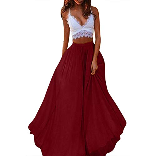 (Nevera Women Long Maxi Puffy Tulle Skirt Floor Length A Line with High Waisted for Wedding Party Evening Red)