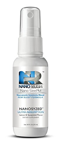 Nano Rush SleePM Narcatonin Insomnia Blend REM Natural Sleep Remedies with Nanotechnology 1 Oz Lemon & Spearmint Flavor Spray 30 Day Supply