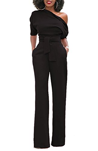 ONLYSHE Off One Shoulder Solid Color High Waist Jumpsuit Romper With Belt For Women Black Medium