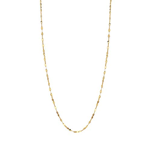 10K Solid Gold 2.0MM Diamond Cut Mirror Chain Necklace -Unisex Sizes 14