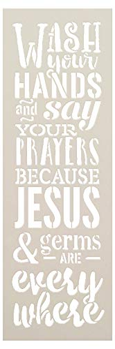Wash Your Hands Say Your Prayers Jesus & Germs are Everywhere Stencil by StudioR12 | Reusable Mylar Template Paint Wood Sign | Craft Farmhouse Faith Home Decor | DIY Bathroom Quote Gift | Select Size