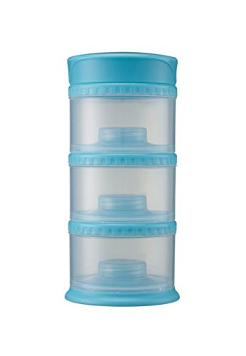 Innobaby Packin' Smart Stackable and Portable Storage System for Formula, Liquid, Baby Snacks and more. 3 Stackable Cups in Blueberry. BPA - Stack Snacks Smart