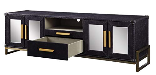Benjara BM196709 Spacious Leatherette Upholstered TV Stand with Metal Legs, Black and Gold