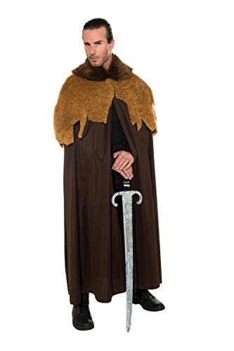(Rubie's Costume Deluxe Medieval Warrior Cloak With Faux Fur Trim, Brown, Standard)