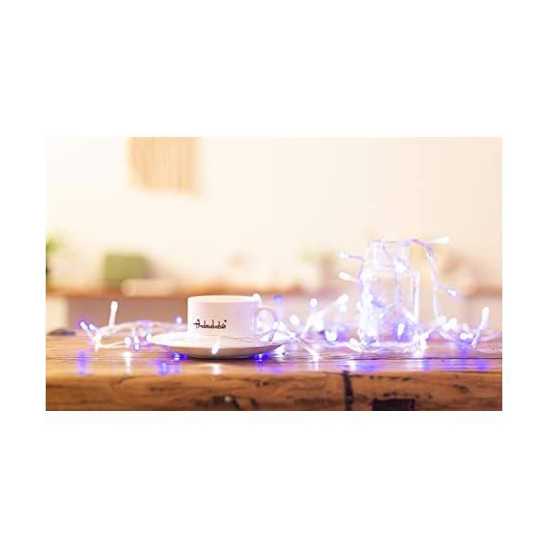 Catena Luminosa WISD Cavo Trasparente Stringa Luci Con 8 Modalità, Funzione Di Memoria, Decorativa Da Interni e Esterni, 33M 600 LED Catena Luci Per Casa/Natale/Giardino/Feste (Blu + Bianco) 6 spesavip