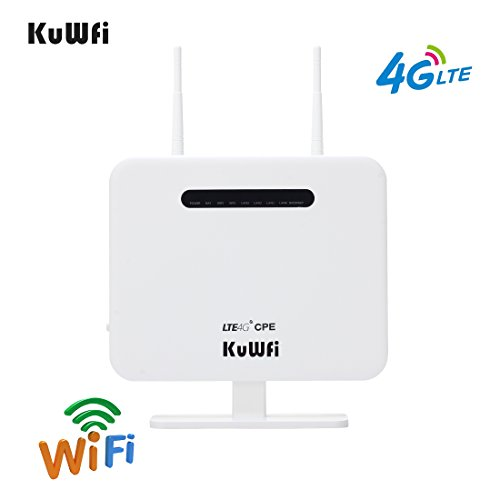 KuWFi 4G LTE CPE Router,300Mbps Unlocked 4G LTE CPE Wireless Router With SIM Card Solt with two antenna 4 Lan port WiFi Hotspot Support AT&T Cover B5 850MHZ SIM card ONLY and Caribbean,Europe,Asia, by KuWFi