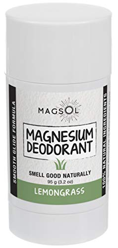 Lemongrass Magnesium Deodorant - Aluminum Free, Baking Soda Free, Alcohol Free, Cruelty Free, Sensitive Skin, All Natural, For Women Men Boys Girls Kids - 3.2 oz (Lasts over 4 months) ()