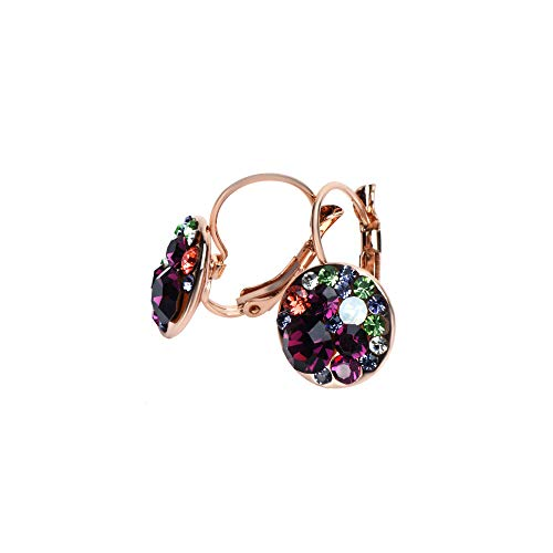 UPSERA Multi-color Round Lever-Back Earrings for Women Made with Swarovski Crystals Hypoallergenic Clip-On Pierced Drop Jewelry ()