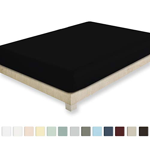 California Design Den 400 Thread Count 100% Cotton 1 Fitted Sheet Only, Long - Staple Combed Pure Natural Cotton Sheet, Soft & Silky Sateen Weave (Full, Black)
