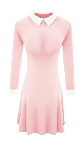 TULIPTREND Womens Celebrity Peter Pan Collar Wear Work Fitted Dresses, Pink, Small