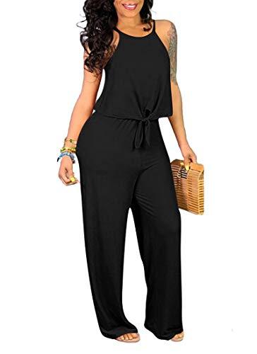 ECHOINE Wide Leg Jumpsuits for Women Casual - 2 Piece Outfits Loose Solid Color Tracksuit Playsuit Romper Black L