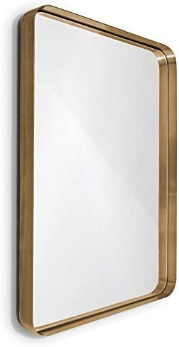 Wallcharmers Gold Mirror, 22×30 Brushed Brass Hangs Horizontal or Vertical Bathroom Mirrors for Vanity, Gold Vanity Mirror, Vanity Mirrors for Bathroom, Big Mirrors, Infinity Mirror